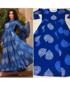 Blue long kurti anarkali
