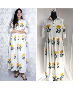 Flower long kurti anarkali